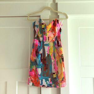 Splatter Strapless Dress with Sweetheart neckline